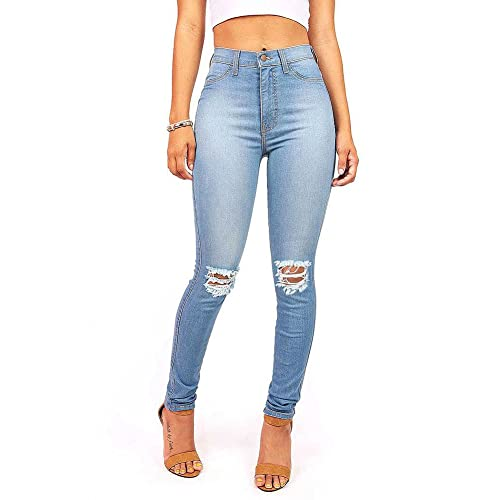 860bc308 Vibrant Women's Juniors Faded Ripped Knee High Waist Skinny Jeans