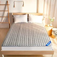 Thin Machine Washable Mattress Protector,Non-Slip Mattress Topper,Folding Futon Bed Pad with Elastic Straps,Solid Color Be...