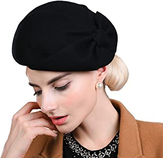 Women's Autumn and Winter Bow Wool Beret Coffe