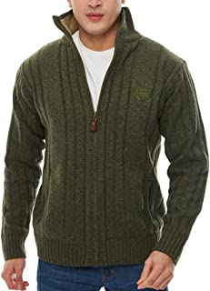 APRAW Men's Casual Cardigan Sweaters Slim Full Zip Thick Knitted with Pockets for Winter Outwear