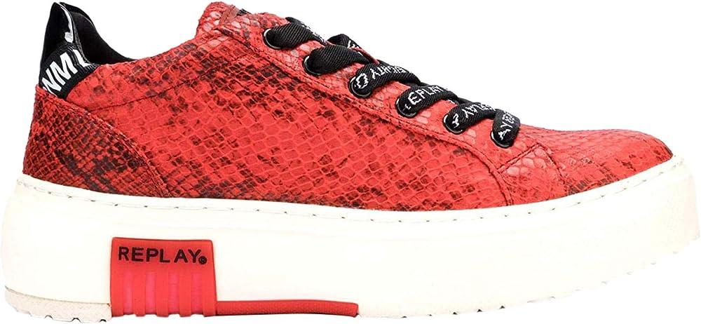 Replay final, scarpe da ginnastica basse per donna,sneakers,in pelle sintetica GWZ1Q .000.C0001S