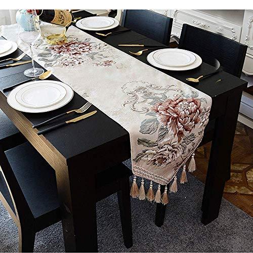 ZXL European Tassel Table Runner, Driedimensionale Chenille reliëf ambacht, niet-Machine wasbaar, Home Textile | Bruiloft | Feest | Fotografie | Verjaardag (kleur: D, afmeting: 32x210cm)