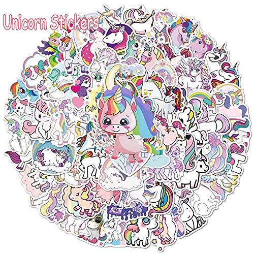 50 pegatinas de diferentes formas y estilos de unicornio, pegatinas de vinilo impermeables a la moda, ideales para portátiles, maletas, vasos de agua, monopatines, portátiles, guitarras
