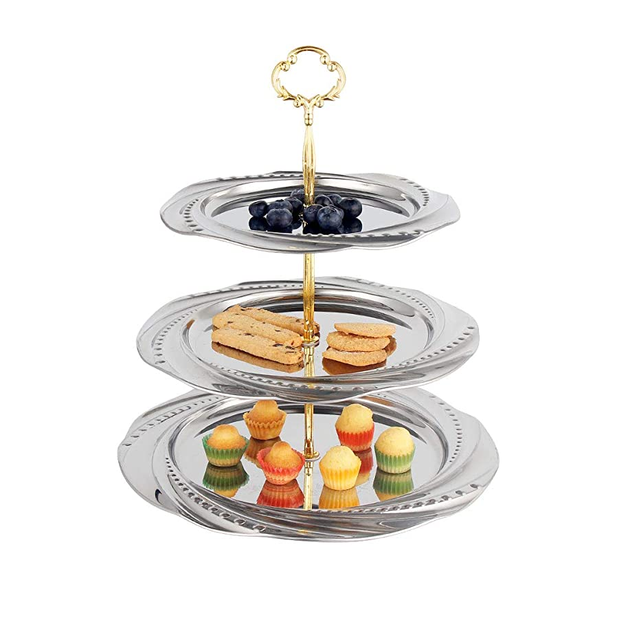 Cake Stand Fruit Tray Stainless Steel Fruits Desserts Candy Buffet Plates Serving Tray Cupcake Stand for Wedding House Birthday Party Family Dinner(3-Tier, Silver)
