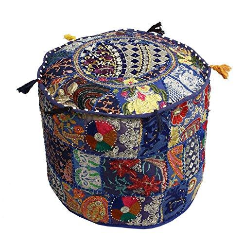 Una funda otomana bordada de retazos indio para Navidad, otomana tradicional de la India, otomana decorativa tradicional india, cómodo cojín de suelo de algodón, diseño indio, otomano de suelo étnico