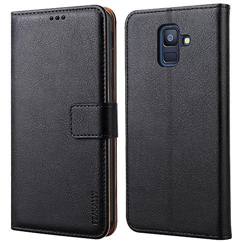 Peakally Samsung Galaxy A6 2018 Hülle, Premium PU-Leder Tasche Flip Wallet Hülle [Standfunktion] [Kartenfächern] PU-Leder Schutzhülle Brieftasche Handyhülle für Samsung Galaxy A6 2018 5.6