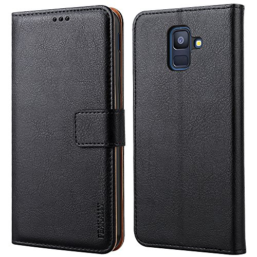 Peakally Samsung Galaxy A6 2018 Hülle, Premium PU-Leder Tasche Flip Wallet Case [Standfunktion] [Kartenfächern] PU-Leder Schutzhülle Brieftasche Handyhülle für Samsung Galaxy A6 2018 5.6'-Schwarz