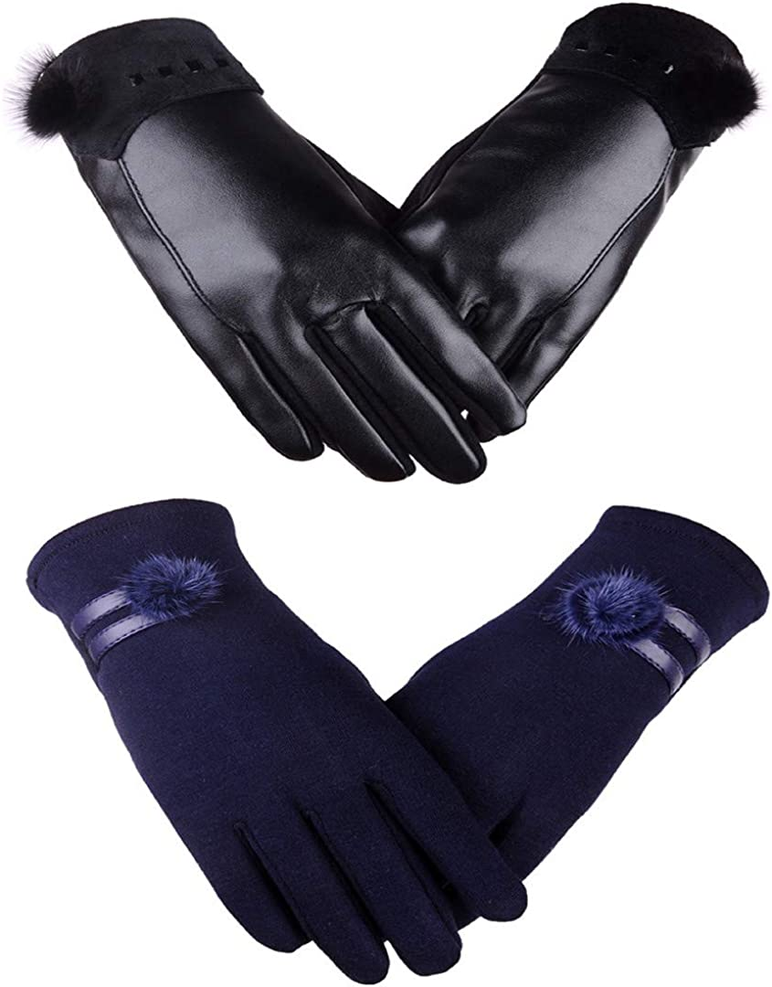 2Pieces,Womens Winter Gloves Fashion Touch Screen Warm Fleece Lined Ladies Cold Weather Gloves