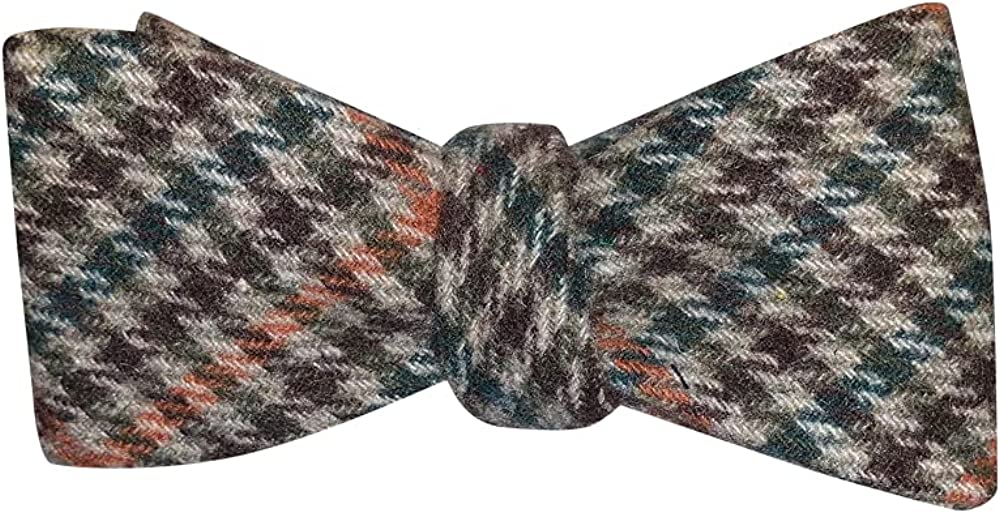 Mens Brown Tan Green Orange Plaid Wool Self Tie Bow Tie Adjustable Length Bowtie By The Ellis Tie Company
