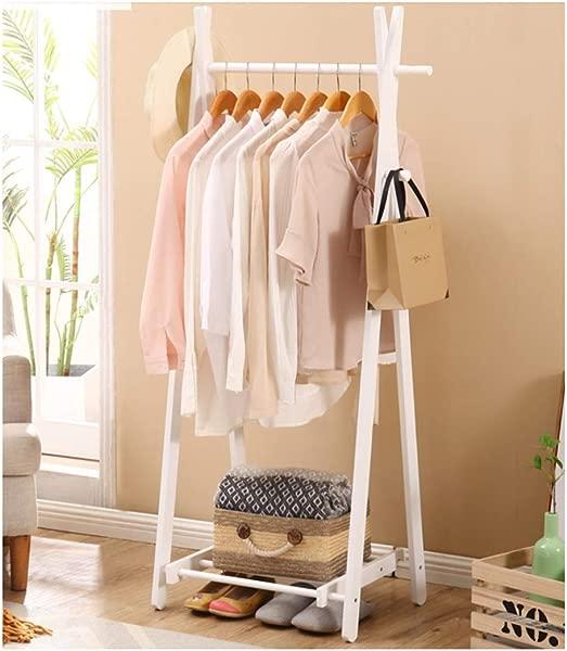 WYQSZ Solid Wood Floor Bamboo Garment Rack Simple Modern Bedroom Clothes Rack Wooden Living Room Guest Folding Coat Rack Hanger Color B Size 5601485mm