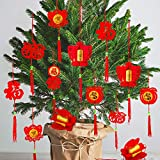 Whaline 36 Pieces Chinese New Year Decorations Chinese Knot Pendant Red Hanging Ornaments,Lucky Fu Pendants for New Year Home Office Car Trees Spring Festival New Year Decorations (6 Designs)