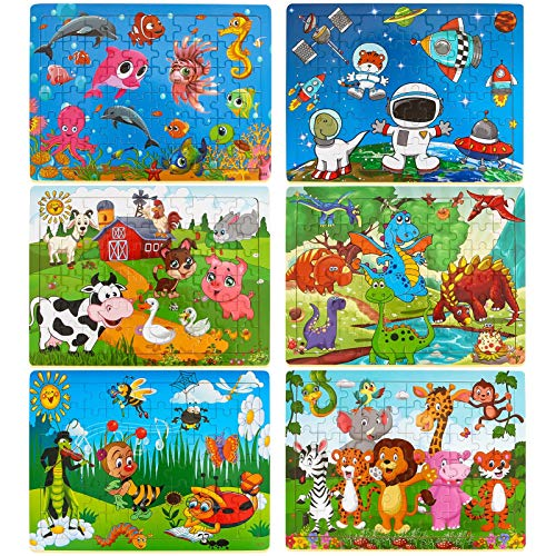 Dreampark Puzzles for Kids Ages 3-8, 6 Pack Wooden Jigsaw Puzzles 60 Pieces...