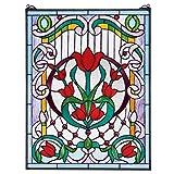 Diseño Toscano Tulip Tesoro Tiffany vidriera Ventana, Cristal, Multicolor