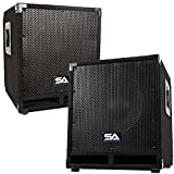 Seismic Audio - Mini-Tremor_Pair - Pair of Powered 12' Pro Audio/DJ Subwoofer Cabinets - Active 12 Inch PA/DJ/Band Live Sound Subwoofers