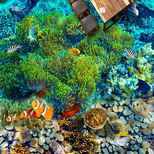 Ocean World Tropische vis 3D vloertegels op maat groot - schaal muurschilderingen PVC waterdichte dikke vloer tegel schilderij 250cm(L) x180cm(W)