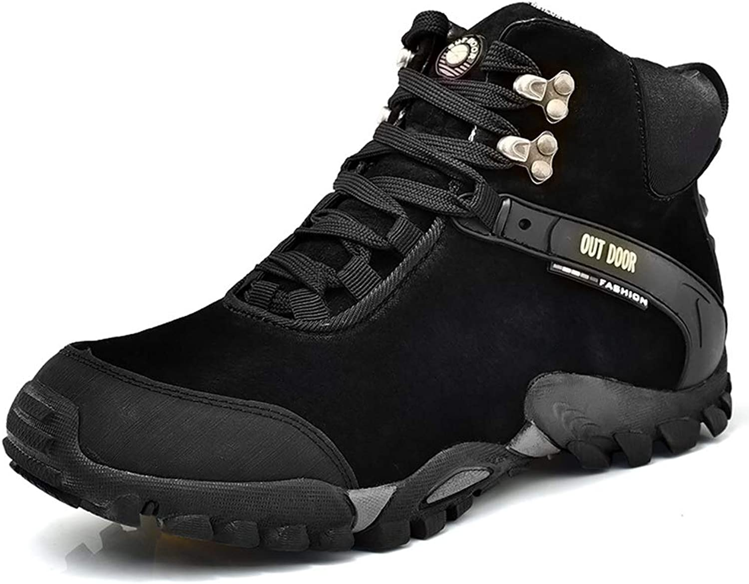Phil Betty Mens Ankle Boots Winter Non-Slip Warm Plush Lace Up Outdoor Climbing Booties