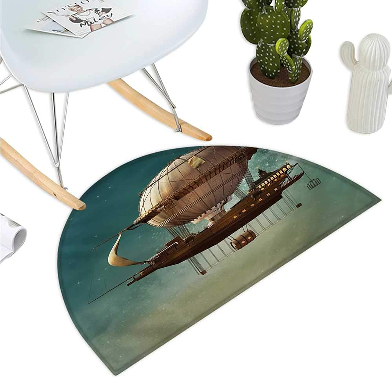 Fantasy Semicircular Cushion Surreal Sky Scenery with Steampunk Airship Fairy Sci Fi Stardust Space Image Halfmoon doormats H 39.3  xD 59  Teal and Brown