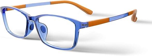 Kids Computer Blue Light Glasses: Anti Strain Protection Eye Glare Filter Rectangular Frame UV Ray Blocker Fake Reading Le...