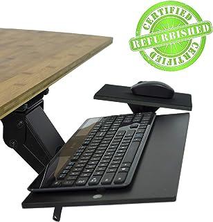 KT1 Ergonomic Under-Desk Computer Keyboard Tray. Adjustable Height Angle Negative tilt Sliding Pull Out Drawer Platform swivels 360 with Mouse pad (Renewed)