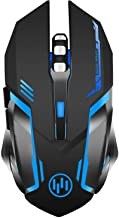 Wireless Gaming Mouse, Scettar Rechargeable Computer Gaming Mouse Silent Click, 7 Led Light, 3 Adjustable DPI,Iron Plate, ...