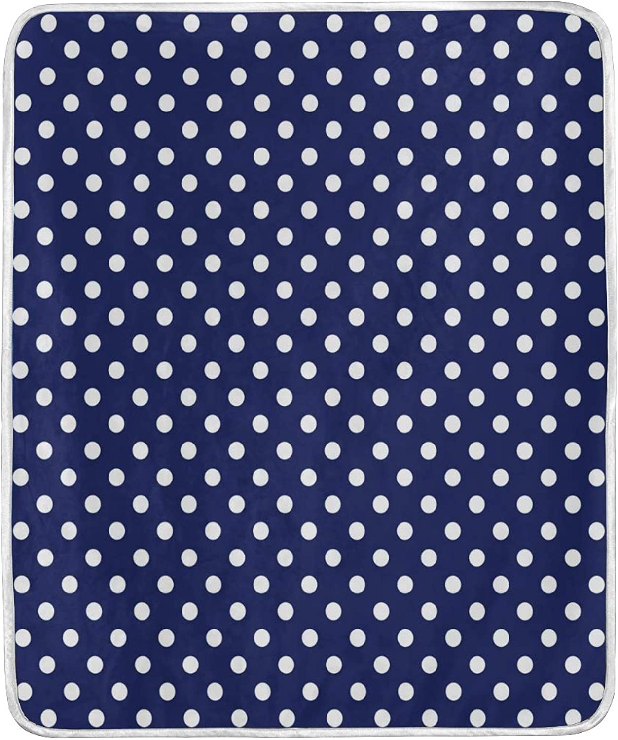 OPRINT Home Decor Navy bluee Polka Dots Bed Blanket Lightweight Comfy Soft Warm Blanket Throw Size 50 x 60 inches for Kids Boys Women Sofa Couch