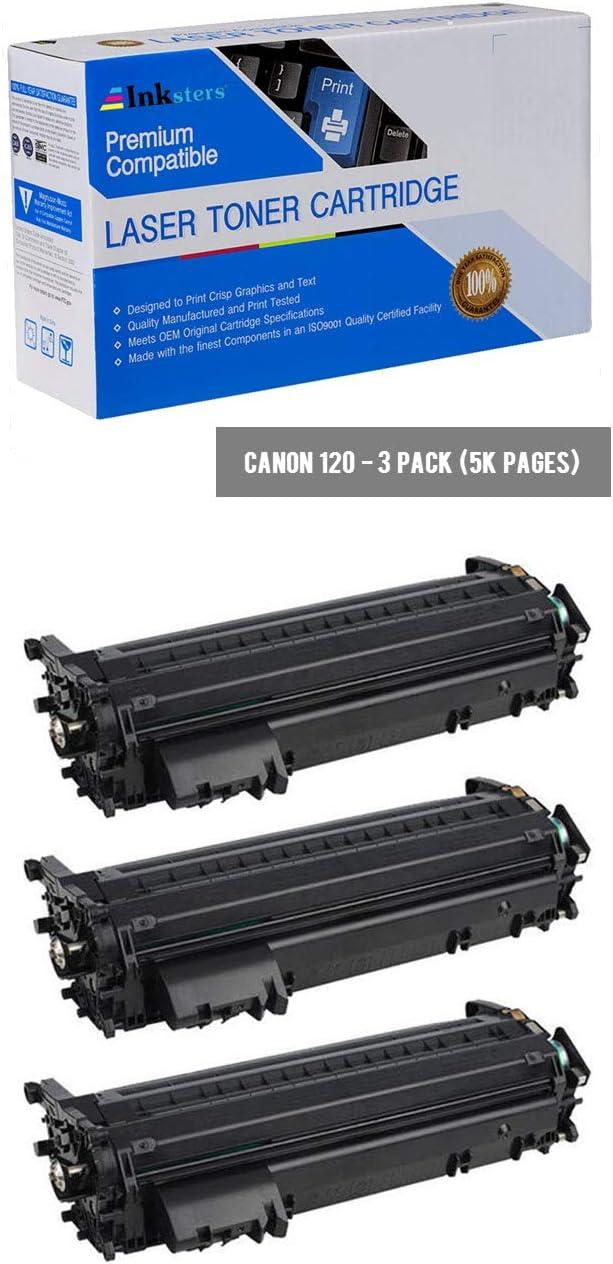 Inksters Compatible Black Toner Cartridge Replacement for Canon 120/2617B001AA - Compatible with ImageCLASS D1120 D1150 D1170 D1180 D1320 D1350 D1372 (3 Pack)