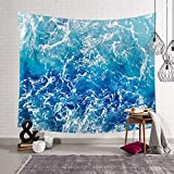 Hysenm Blue Ocean Waves Tapestry Sea Sunset Wall Hanging Art Décor for Bathroom Children's Room