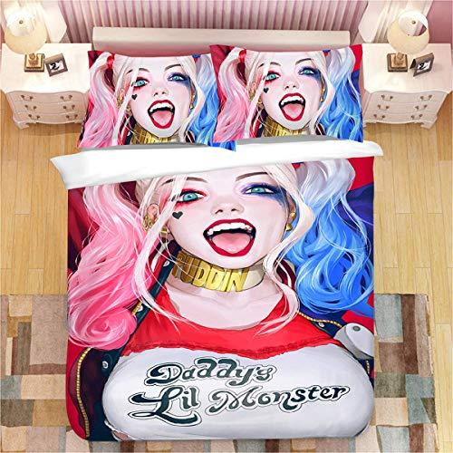 Harley Quinn – Funda nórdica Harley Quinn – Super suave y cómoda, 100% microfibra (1,140 x 210 cm + 80 x 80 cm x 2)