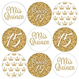 Quinceanera Party Favor Labels, White and Gold - 180 Stickers