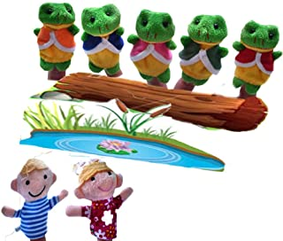CHUANGLI Story Animals 7Pcs Frog Doll World Sack Bag Finger Puppets Nursery Rhyme Fairy Tale