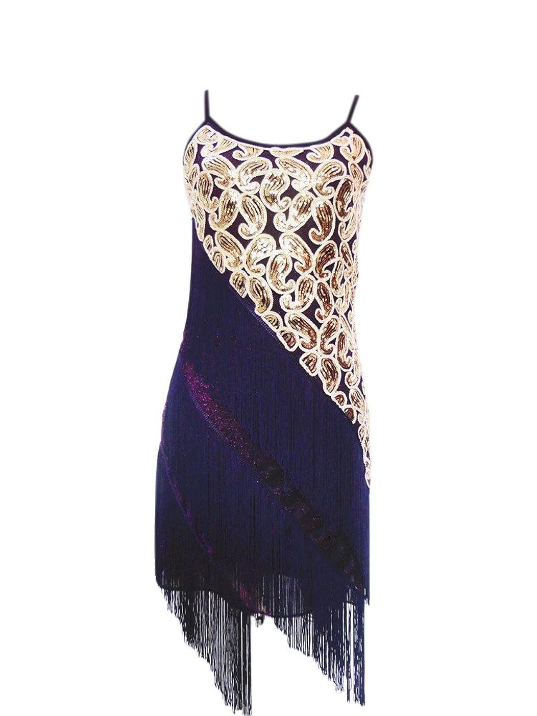 Whitewed 1920 Paisley Art Deco Sequin Tassel Bead Flapper Dance Dresses Costumes