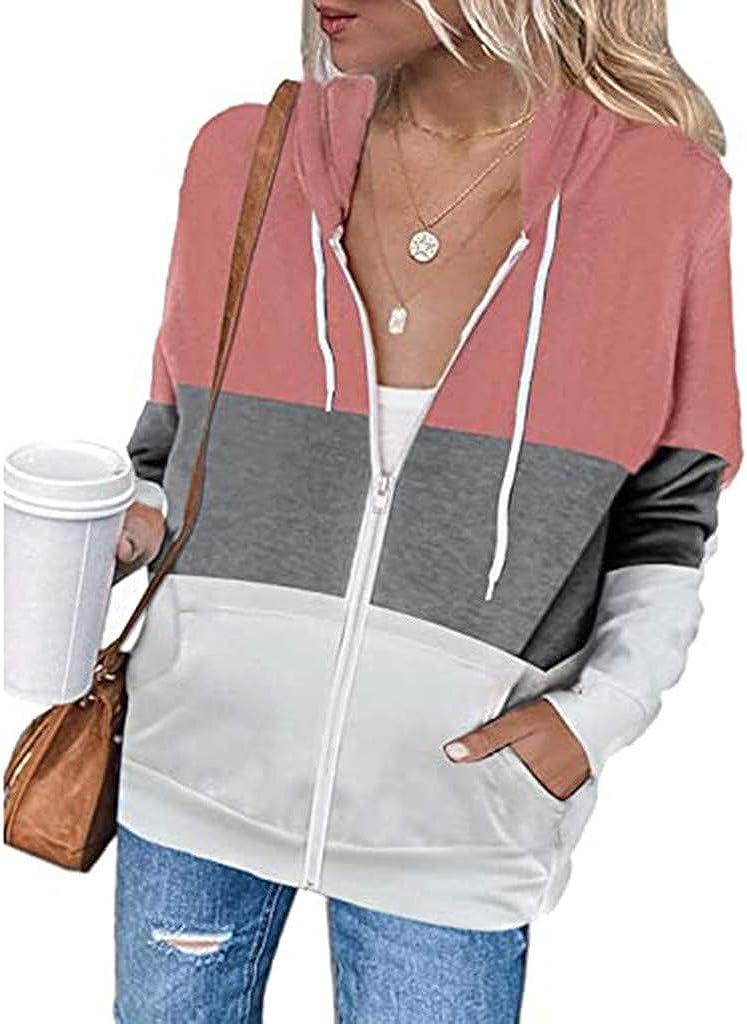 AIHOU Women Sweatshirts Women's Jacket Zip Up Stripe Hoodie Sweatshirt Long Sleeve Casual Drawstring Sport Coat with Pockets