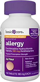 Basic Care Allergy Fexofenadine Hydrochloride Tablets, 180 mg, 150Count