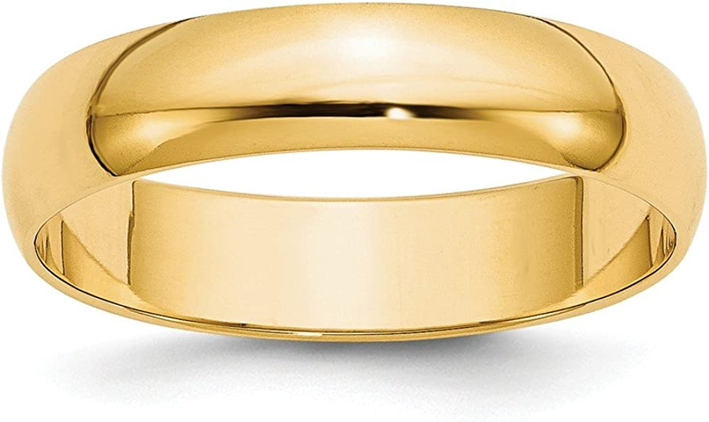 14k Yellow Gold 5mm Half Round Wedding Ring Band Size 11.5 Classic Fine Jewelry For Women Gifts For Her