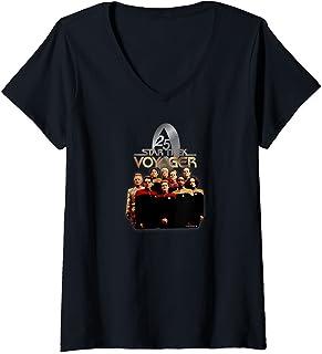 Femme Star Trek: Voyager 25 Gold Crew T-Shirt avec Col en V