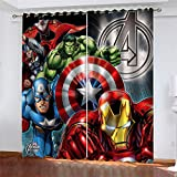 Sea Eyelet Blackout Curtains for Boys Girls,Avengers Iron Man Window Curtain for Bedroom Nursery Thermal Insulated 2panel Printed Polyester Dec Pattern 2X 46x54 inch(WXD)