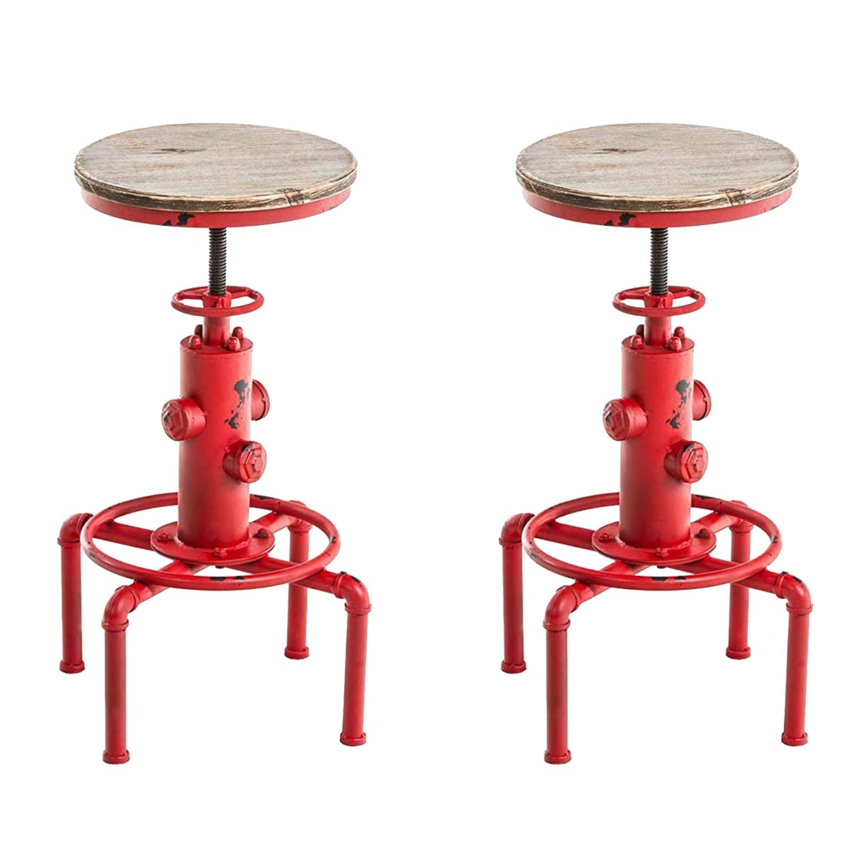 Topower American Antique Vintage Industrial Barstool Solid Wood Water Pipe Fire Hydrant Design Cafe Coffee Industrial Bar Stool (Antique Red, 2)