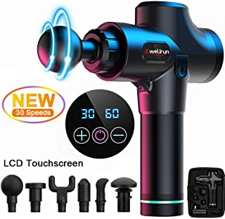 Massage Gun-Handheld Muscle Massager 30 Speeds Deep Tissue Percussion Vibration Fascia for Tension Relief with LCD Touch Screen [Upgrade Version]