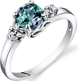 14K White Gold Created Alexandrite Diamond 5 Stone Ring 1.00 Carats Sizes 5-9