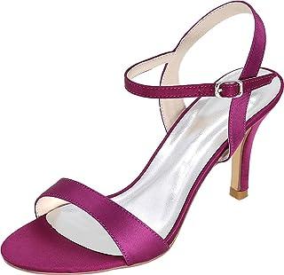 Vimedea Womens Ankle Strap Dress Heeled Sandals Wedding Bride Open Toe Satin 9920-09A