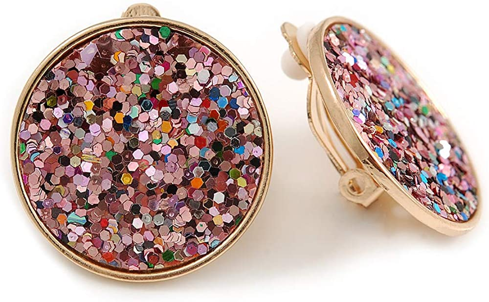 Pink Sequin Round Clip On Earrings In Gold Tone - 25mm Diameter