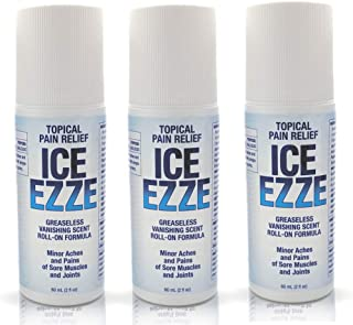 Ice Ezze Natural Pain Relief Gel Roll On - for Sore Muscles, Joints, Aches Pains Arthritis (2oz) (3 Pack)