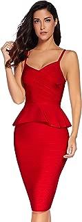 Meilun Women Two Piece Dress Celebrity Strap Midi Bodycon Bandage Dress