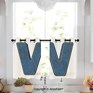 Letter W Curtain Shade Curtains Ultra Soft Kids Room Curtains with Grommets,1 Pair,W52 x L36-Inch,Symmetrical Latin Letter Capital W with Blue Jean Pattern Typography Design Print