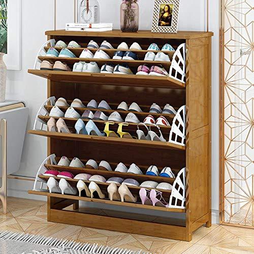 Puerta de bamb¨² abatible multicapa para zapatos, cabina, porche, almacenamiento de madera maciza, zapatero, zapato, blanco