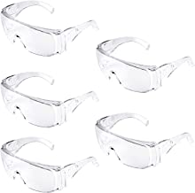 5-Packs Safety Glasses, Safety Goggles Protective Eyewear with Universal Fit and Clear View, Polycarbonate Impact Resistan...