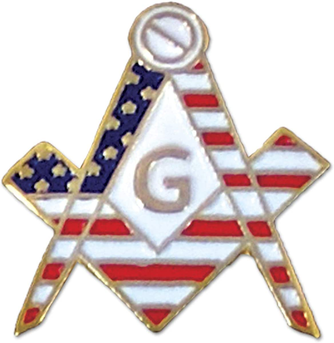 American Flag Square & Compass Masonic Lapel Pin - [White & Red][3/4'' Tall]