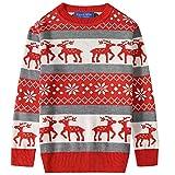 Camii Mia Big Boys' Reindeer Pullover Snowflake Crewneck Ugly Christmas Sweater (Small (8), Red Grey)