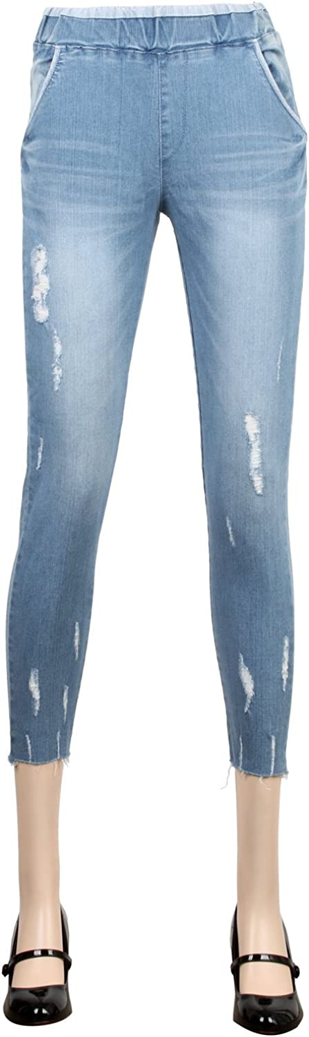 Ililily Distressed Cotton Denim Crop Jean Washed Stretch Skinny Capri Pants
