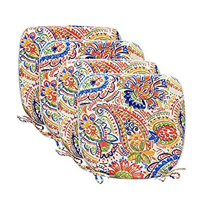 """Pcinfuns Indoor/Outdoor All Weather Chair Pads Seat Cushions Garden Patio Home Chair Cushion,17"""" X 16"""",Set of 4"""
